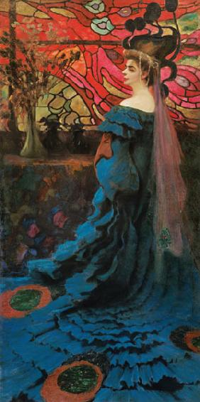Woman in front of a glass window (the peacock) portrait the Zofia Borucinska.