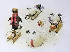 Penguins Sledging, 1999 (w/c on paper)