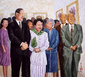 Exhibition (Former President and Madam Lee) 1995 (gouache on silk)