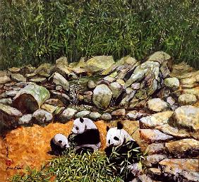 Happy Family (Pandas) 1993 (gouache on silk)