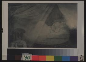 In the bed-room. Illustration for the poem Count Nulin by A. Pushkin