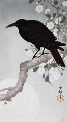 A Black Bird on a bough in the moonlight, (colour woodblock print)