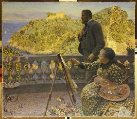 Friedrich III. and his wife on the terrace of the villa Carnavon