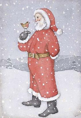 Father Christmas and a Robin (w/c on paper)
