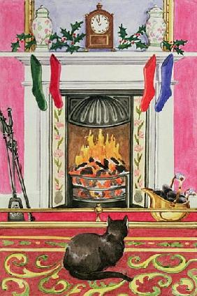 Fireside Scene at Christmas