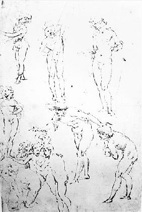 Figural Studies for the Adoration of the Magi, c.1481 (pen and ink on paper)