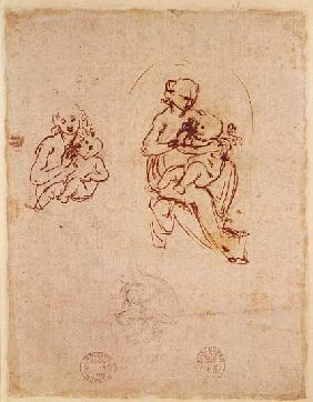 Study for the Virgin and Child, c.1478-1480 (ink and pencil on paper)