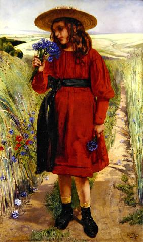 Spring or, Young Girl with Cornflowers (oil on canvas)