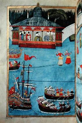 TSM A.3593 Nautical Festival before Sultan Ahmed III (1673-1736) from 'Surname' by Vehbi