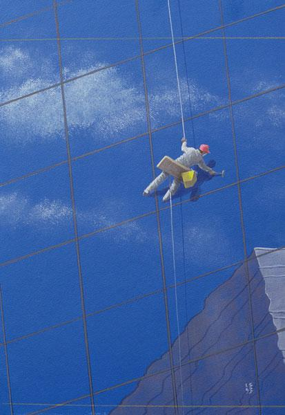 Window Cleaner, 1990 (acrylic on paper)
