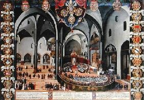 Organ door depicting the Council of Aquileia in 1596 at Udine