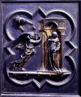 The Annunciation, first panel of the North Doors of the Baptistery of San Giovanni
