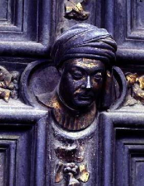 Self Portrait, fifth head from the top on the left door of the North Doors of the Baptistery of San