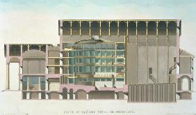 Cross Section of Theatre Royal, Brussels, from 'Choix des Monuments, Edifices et Maisons les plus re