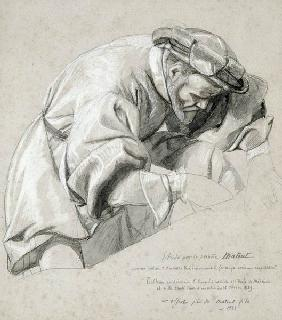 Study of Ambroise Pare (c.1510-90) the 'Father of Modern Surgery' (charcoal & white chalk wash on pa