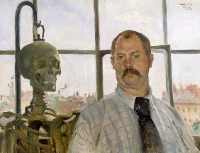 Self-portrait with skeleton