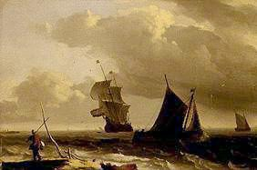 Troubled sea with ships
