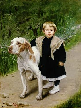 Young Child and a Big Dog