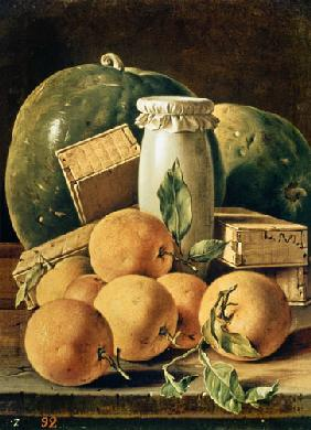 Still Life of Oranges, Watermelon, a Pot and Boxes of Cake