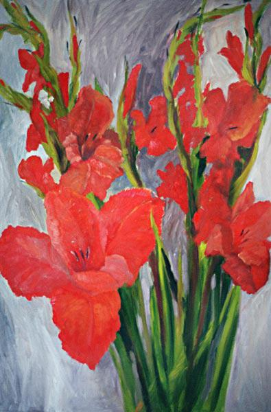 Red Gladioli (oil on canvas)