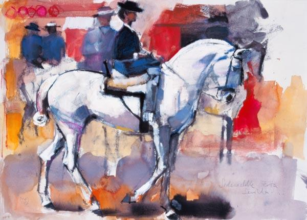 Side-saddle at the Feria de Sevilla, 1998 (mixed media on paper)