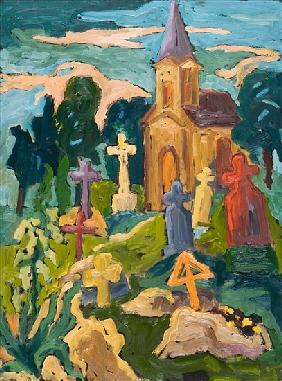 Graveyard and Chapel, 2005 (oil on board)