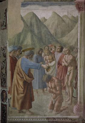 Peter baptises the Neophyte