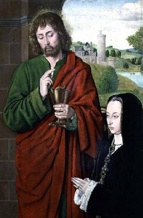 Anne of France (1462-1522) Lady of Beaujeu, Duchess of Bourbon, presented by St. John the Evangelist