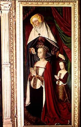 The Bourbon Altarpiece, right hand panel depicting St. Anne presenting Anne of France (1476-1514) an