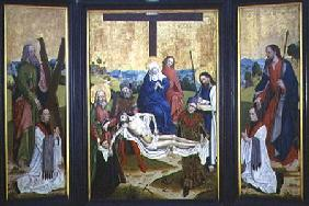 Altarpiece with a pieta and donors in centre panel; St. Andrew and St. John on the side panel