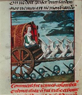 Harl 4425 f.138v Venus comes to the rescue on a chariot drawn by six white doves, Bruges