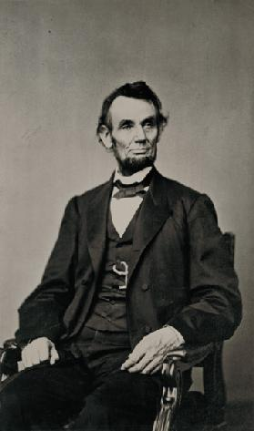 Portrait of Abraham Lincoln (1809-65) (b/w photo)