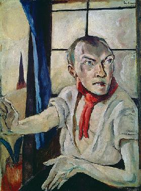 Self portrait with red scarf. 1917