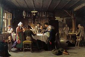Dice player in a Black Forest pub.