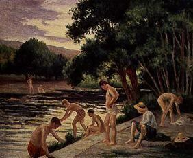 Taking a bath on the bank of the river Cure (Yonne)