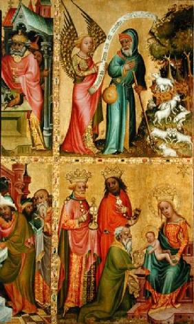 The Annunciation to St. Joachim and the Adoration of the Magi, from the left wing of the Buxtehude A