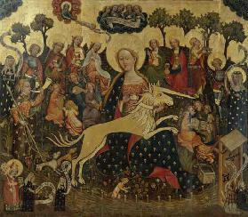 Middle panel of the altar with Maria and the unicorn