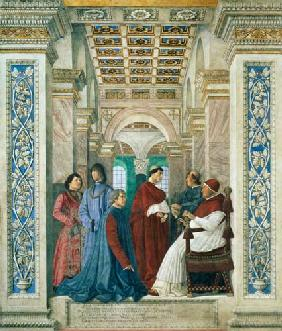 Pope Sixtus IV (1414-84) (Francesco della Rovere) Installs Bartolommeo Platina as Director of the Va