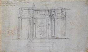 Study of the Upper Level of the Medici Tomb, 1520/1 (black & red chalk on paper)