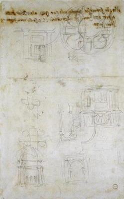 Architectural Studies, c.1560 (black chalk on paper)