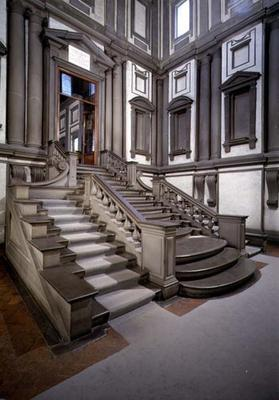 Staircase in the entrance hall of the Laurentian Library, completed by Bartolomeo Ammannati (1511-92