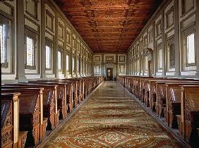 The Reading Room of the Laurentian Library, designed by Michelangelo Buonarroti (1475-1564), 1534 (p