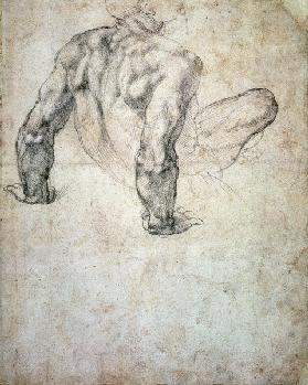 W.63r Study of a male nude, leaning back on his hands cil on
