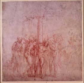 Inv. 1895 6-15-500. R. (W.15) The Flagellation of Christ (red chalk)