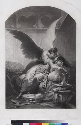 "Tamara and Demon. Illustration to the poem ""The Demon"" by Mikhail Lermontov"