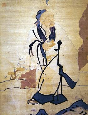 Detail of an immortal holding a peach (silk)