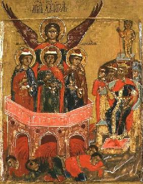 Russian icon depicting Shadrach, Meshach and Abednego in the Fiery Furnace