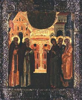 Russian icon of the Miraculous Appearance of the Virgin and the Apostles Peter and Paul to Sergius o