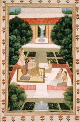 A couple in a garden listening to music with female attendants, from the Small Clive Album