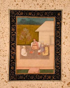 Four Muslim holy men seated in meditation outside a hut, from the Large Clive Album